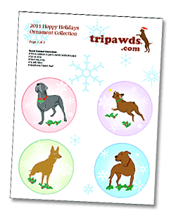 Thripawds Free three Legged Dog Ornament Templates