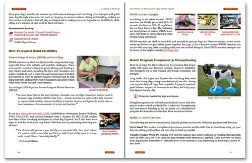 Tripawds Canine Rehab E-book Pages