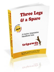 Tripawds downloadable e-book answers questions and gives help for canine amputation surgery, recovery, fitness and mobility issues for amputee dogs.