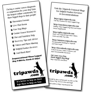 Tripawds Three Legged Dog Resources Fliers